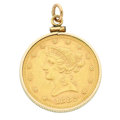 Estate Jewelry:Pendants and Lockets, U.S. $10 Gold Coin, Gold-Filled Pendant . ...