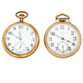 Timepieces:Pocket (post 1900), Burlington & Elgin 21 Jewels open Face Pocket Watches Runners.... (Total: 2 Items)