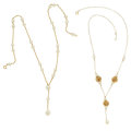 Estate Jewelry:Necklaces, Cultured Pearl, Gold Necklaces. ... (Total: 2 Items)
