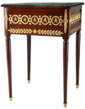 Furniture : French, A Russian Empire-Style Mahogany and Gilt Bronze Games Table withMalachite and Alabaster Top, late 19th century in part. 28-...(Total: 33 Items)