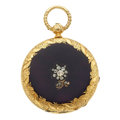 Timepieces:Pocket (pre 1900) , A. Golay Leresche Enamel, Gold & Diamond Key Wind ForRestoration. ...