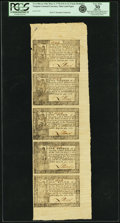 Colonial Notes:Virginia, Virginia May 4, 1778 Printed Date Uncut Strip of$1-$2/3-$1/3-$1/4-$1/6 Thin Paper Notes Fr.VA-144a-143a-142a-141a-140a. PCGS...
