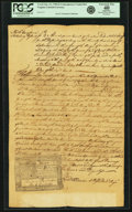 Colonial Notes:Virginia, Virginia October 12, 1758 3 Pounds Contemporary Counterfeit Pinned to Period Docketed Document Fr. VA-22. PCGS Extremely Fine ...