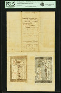 Colonial Notes:North Carolina, North Carolina May 17, 1783 20 Shillings Contemporary CounterfeitType Pair mounted to Court Document Fr. NC-206a and NC-206b....