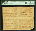 Colonial Notes:North Carolina, North Carolina April 23, 1761 Uncut Sheet of 10 Shillings-15 Shillings/5 Shillings-20 Shillings Fr. NC-122-123/121-124. PCGS E...