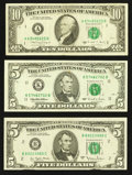 Error Notes:Error Group Lots, Fr. 1975-B $5 1977A Federal Reserve Note. Extremely Fine;. Fr.1985-K $5 1995 Federal Reserve Note. Extremely Fine;. F... (Total:3 notes)
