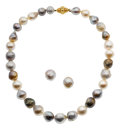 Estate Jewelry:Suites, South Sea Cultured Pearl, Gold Jewelry Suite. ... (Total: 3 Items)