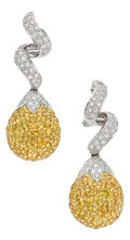 Estate Jewelry:Earrings, Yellow Sapphire, Diamond, White Gold Earrings. ... (Total: 2 Items)