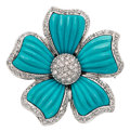 Estate Jewelry:Brooches - Pins, Turquoise, Diamond, White Gold Pendant-Brooch. ...