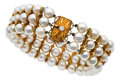 Estate Jewelry:Bracelets, Cultured Pearl, Diamond, Gold Bracelet, Mikimoto. ...