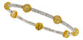 Estate Jewelry:Bracelets, Yellow Sapphire, Diamond, Gold Bracelet. ...