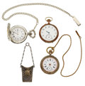 Timepieces:Pocket (post 1900), A Lot Of Three Pocket Watches & A Silver Fob For Parts OrRepair. ... (Total: 4 Items)