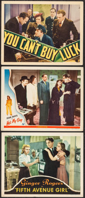 """Fifth Avenue Girl & Others Lot (RKO, 1939). Lobby Cards (3) (11"""" X 14""""). Comedy. ... (Total: 3 Items)"""