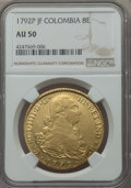 Colombia, Colombia: Charles IV gold 8 Escudos 1792 P-JF AU50 NGC,...