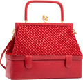 "Luxury Accessories:Bags, Judith Leiber Red Lizard Top Handle Bag. Very Good to ExcellentCondition. 8.5"" Width x 7"" Height x 3"" Depth. ..."