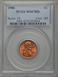 Lincoln Cents, 1980 1C MS67 Red PCGS. PCGS Population (73/0). NGC Census: (30/0). Numismedia Wsl. Price for problem free NGC/PCGS coin in...