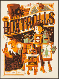 "The Boxtrolls by Tom Whalen (Mondo, 2014). Autographed Numbered Limited Edition Screen Print Poster (18"" X 24""..."