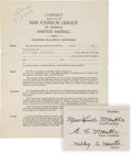 Baseball Collectibles:Others, 1949 Mickey Mantle Signed First Baseball Contract--Baxter Springs (KS) Whiz Kids....