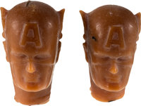Captain America Action Figure Head Pre-Production Prototype Group (Mego, c. 1970s).... (Total: 2 Items)