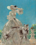 Fine Art - Painting, European:Modern  (1900 1949)  , Louis Icart (French, 1888-1950). À Versailles. Oil oncanvas. 16-1/8 x 13-1/8 inches (41.0 x 33.3 cm). Signed lowerrig...