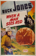 Movie/TV Memorabilia:Memorabilia, Buck Jones When a Man Sees Red Poster and AssortedSouvenirs....