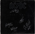Music Memorabilia:Autographs and Signed Items, AC/DC Signed Back In Black LP (Atlantic 16018, 1980)....