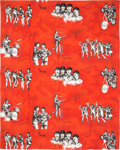 Music Memorabilia:Memorabilia, Beatles Vintage Panel in Red Made from Curtain Material (Holland,1964)....