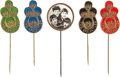 Music Memorabilia:Memorabilia, Beatles Group of Five Vintage Brooch Pins (Holland & UK, 1964)....