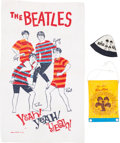 Music Memorabilia:Memorabilia, Beatles Vintage Beach Ensemble with Towel, Hat, and Tote Bag (US& Japan, 1964-1966). ...