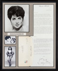 Movie/TV Memorabilia:Autographs and Signed Items, A Suzanne Pleshette Signed Letter Display, 1990....