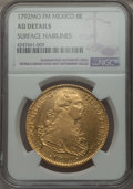 Mexico, Mexico: Charles IV gold 8 Escudos 1792 Mo-FM AU Details (SurfaceHairlines) NGC,...