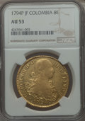 Colombia, Colombia: Charles IV gold 8 Escudos 1794 P-JF AU53 NGC,...