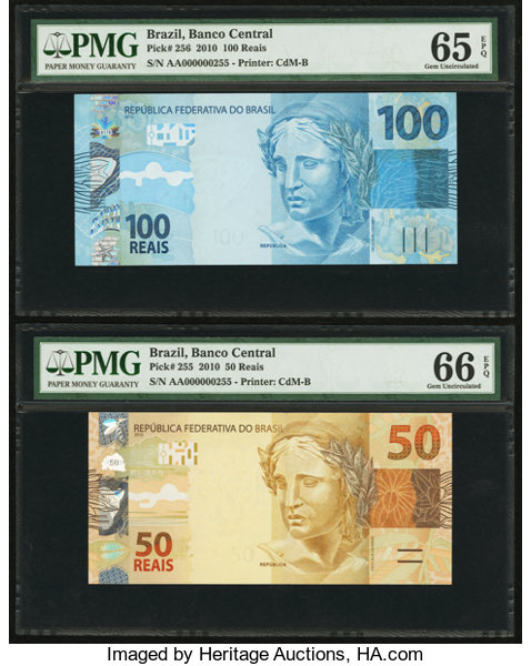 World Currency Brazil Matched Serial Number 255 2010 100 And 50 Reais Pmggraded
