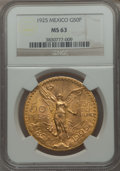 Mexico, Mexico: Republic gold 50 Pesos 1925 MS63 NGC,...