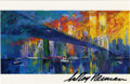 """Autographs:Others, LeRoy Neiman Signed Brooklyn Bridge Postcard. Excellent 5x8""""postcard featuring the art of renowned illustrator LeRoy Neima..."""