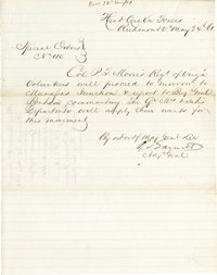 CONFEDERATE GENERAL ROBERT S. GARNETT, FIRST GENERAL OFFICER KILLED IN THE CIVIL WAR, DOCUMENT SIGNED
