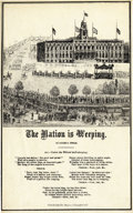 """Military & Patriotic:Civil War, LINCOLN MOURNING SONG SHEET BY CHARLES MAGNUS, """"THE NATION IS WEEPING"""", 1865...."""