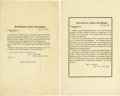 Military & Patriotic:Civil War, LOT OF TWO GENERAL ORDERS 15 & 16 ANNOUNCING PERIOD OF MOURNING FOR PRESIDENT LINCOLN, 1865.... (Total: 2 Items)