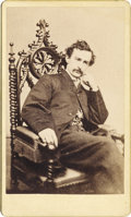 Advertising, CARTE DE VISITE OF JOHN WILKES BOOTH SEATED IN CHAIR, 1865....