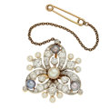 Estate Jewelry:Brooches - Pins, Antique Cultured Pearl, Diamond, Gold, White Gold, Yellow Metal Brooch. ...