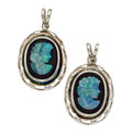 Estate Jewelry:Pendants and Lockets, Opal Cameo, Black Onyx, Sterling Silver Pendants. ...