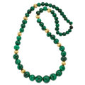 Estate Jewelry:Necklaces, Malachite, Yellow Metal Necklace. ...