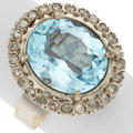 Estate Jewelry:Rings, Topaz, Diamond, White Metal Ring. ...