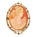 Estate Jewelry:Cameos, Shell Cameo, Gold, Yellow Metal Pendant-Brooch. ...