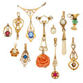 Estate Jewelry:Other , Diamond, Multi-Stone, Freshwater Cultured Pearl, Glass, Gold Lavaliers. ... (Total: 11 Items)
