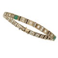 Estate Jewelry:Bracelets, Art Deco Diamond, Emerald, White Gold Bracelet. ...