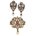 Estate Jewelry:Suites, Ruby, Diamond, Cultured Pearl, Silver-Topped Gold, Gold JewelrySuite. ...