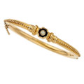Estate Jewelry:Bracelets, Edwardian Diamond, Enamel, Gold Bracelet. ...