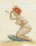 Pin-up and Glamour Art, Duane Bryers (American, 1911-2012). Underwater, Hilda calendarillustration. Gouache on board. 15 x 12 in. (sight). Sign...