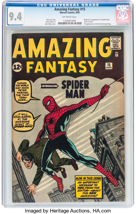 Amazing Fantasy #15 (Marvel, 1962) CGC NM 9.4 Off-white pages....